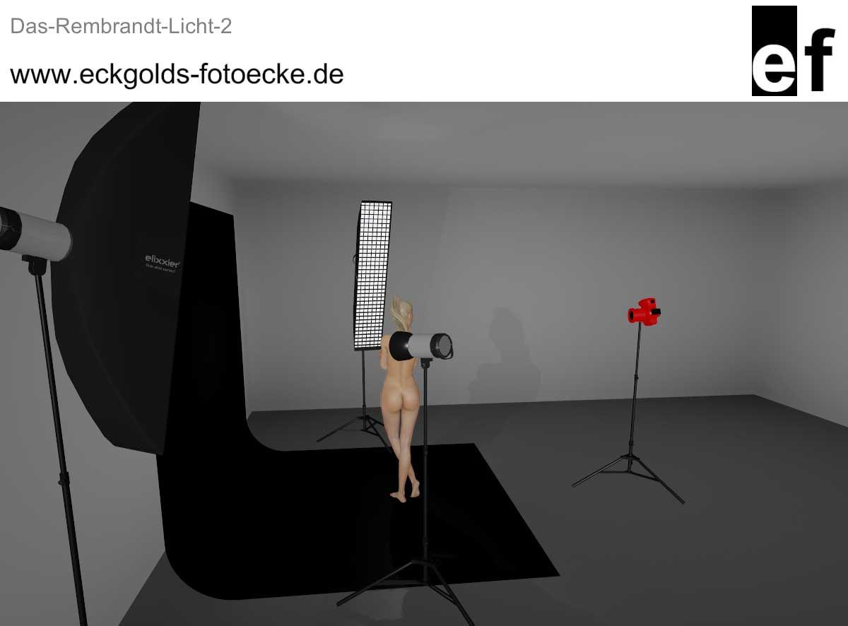 3D-Lichtsetup zum Rembrandt Licht
